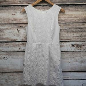 bebe White Eyelet Scoop Neck Sleeveless Mini Dress